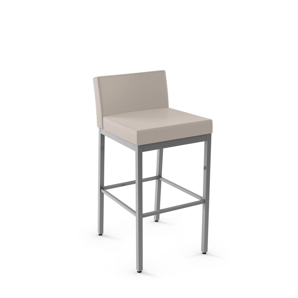 Fairfield 26 in. Glossy Grey Metal Beige Polyurethane Counter Stool