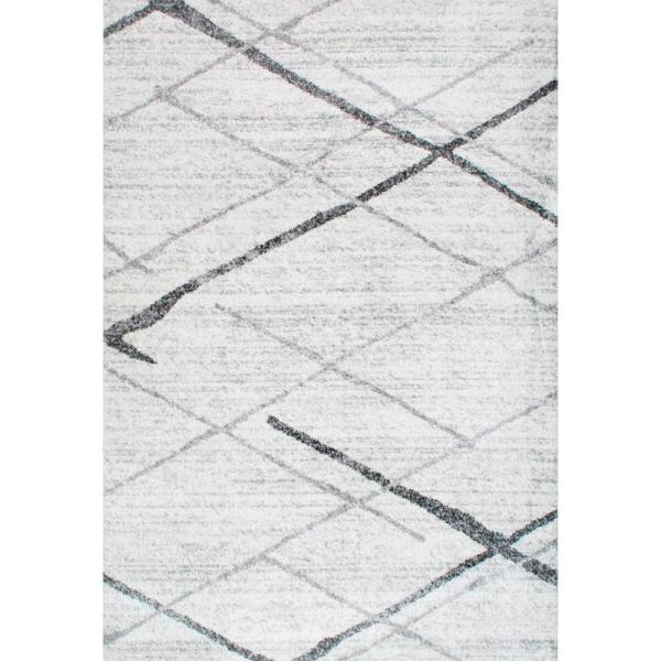 Thigpen Contemporary Stripes Gray 12 ft. x 15 ft. Area Rug