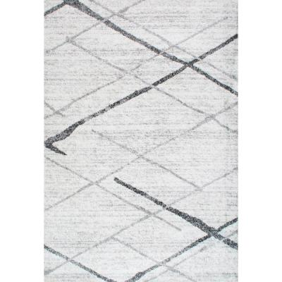 Thigpen Contemporary Stripes Gray 12 ft. x 18 ft. Area Rug