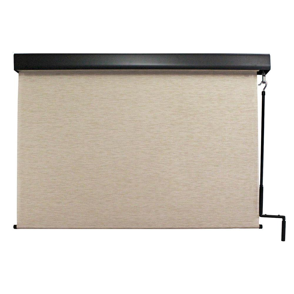 Seasun Surfside Premium Pvc Fabric Exterior Roller Shade Cordless Crank Operated With Protective