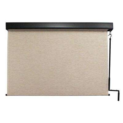 Surfside Premium PVC Fabric Exterior Roller Shade Cordless Crank Operated with Protective Valance - 120 in. W x 96 in. L