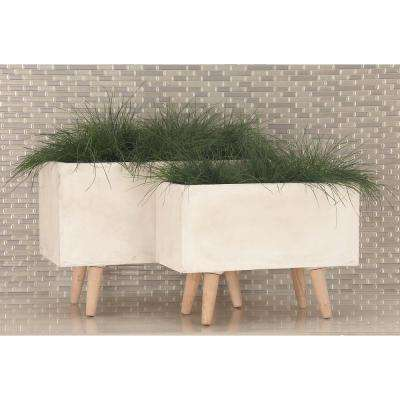 Large: 21 in., Small: 17 in. White Fiber Clay Planters (2-Pack)