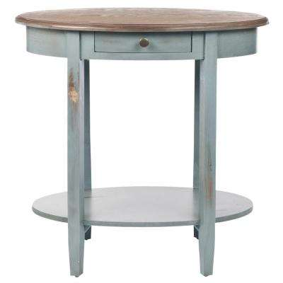 Whitney Barn Blue and Oak Storage End Table