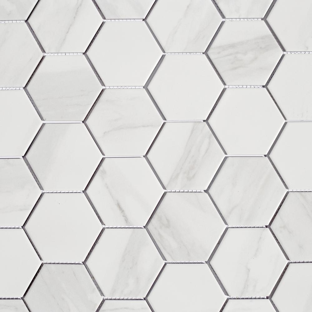 Monet Calacatta White Hexagon Mosaic 3 in. x 3 in. Porcelain Wall Tile (14.94 Sq.Ft./Case)