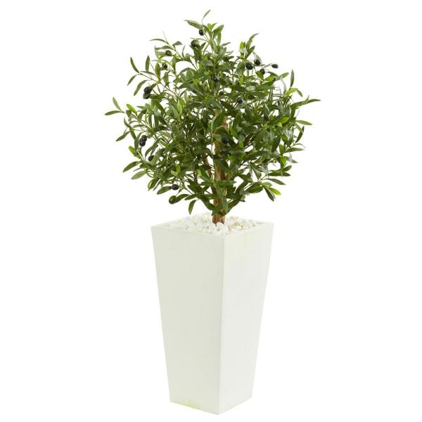 Nearly Natural Indoor 3.5-Ft. Olive Artificial Tree in White Planter 9219
