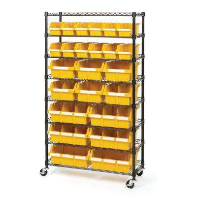 8-Tier Black/Yellow NSF 24-Bin Rack Storage System