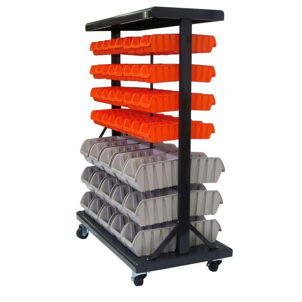 Trinity 35.5 in. x 19.75 in. x 48.5 in. Dual-Sided Mobile Bin Rack