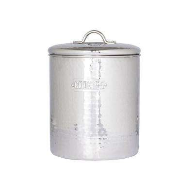 6.75 in. x 9 in. Stainless Steel Hammered Cookie Jar with Fresh Seal Cover