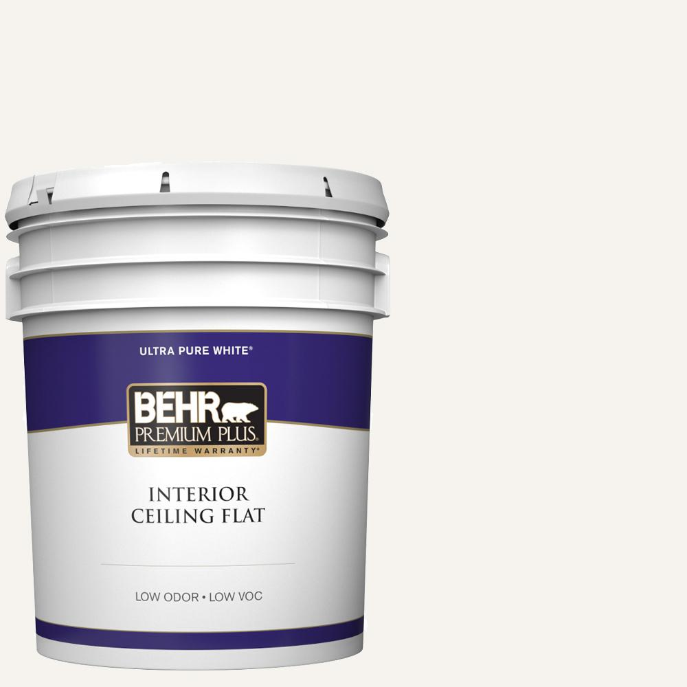 Behr Premium Plus 5 Gal Ultra Pure White Ceiling Flat Interior Paint
