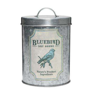 Blue Bird 52 oz. Metal Dry Goods Storage Canister with Lacquered Decal