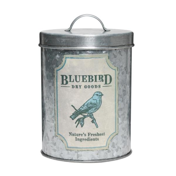 Amici Home Blue Bird 52 oz. Metal Dry Goods Storage Canister
