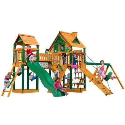 Pioneer Peak Treehouse Wooden Playset with Timber ShieldPosts, Tire Swing, and Clatter Bridge and Tower