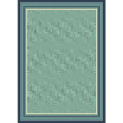 Border Aqua Field Navy/Aqua 5 ft. x 7 ft. Indoor/Outdoor Area Rug