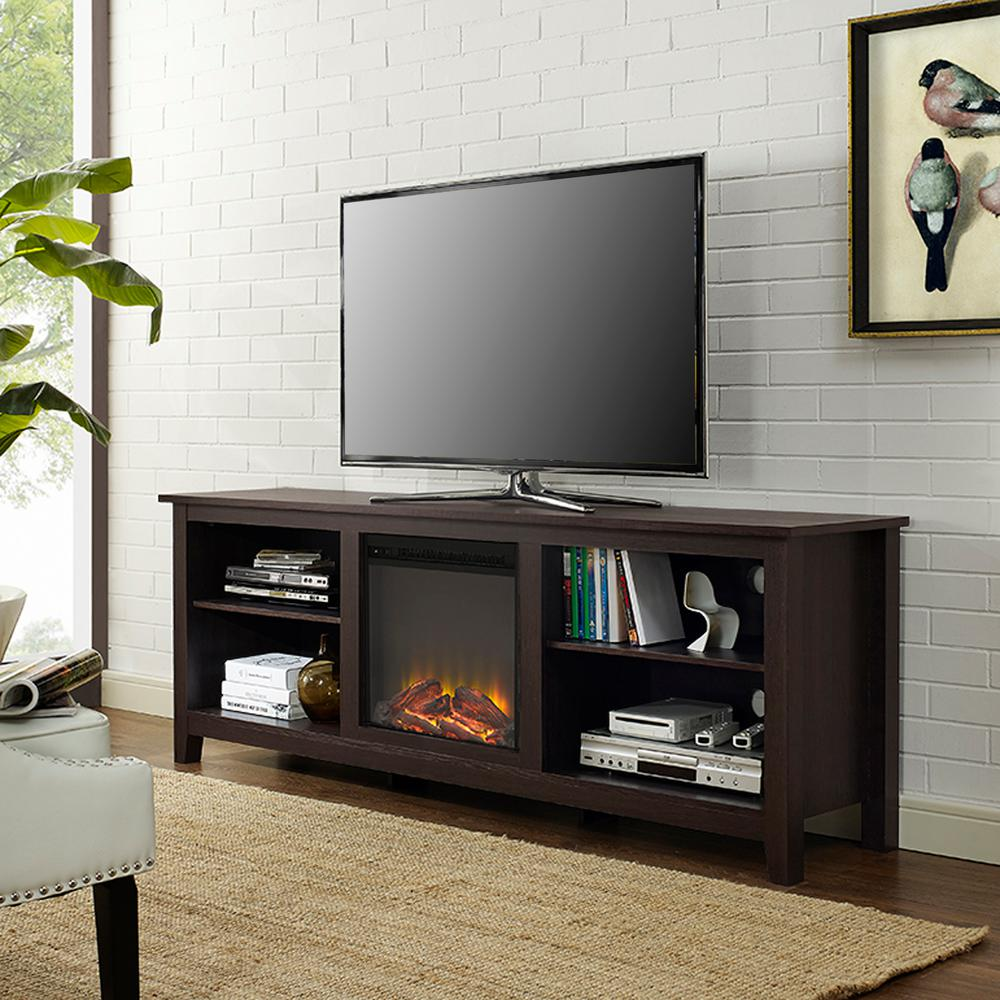 Walker Edison Furniture Company Essentials Espresso Fire Place  Entertainment Center