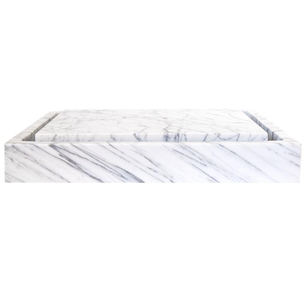 White Marble Bathroom Sinks Bath The Home Depot