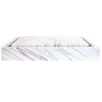 Rectangular Infinity Pool Vessel Sink in White Carrara Marble