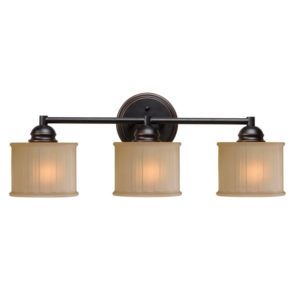Vanity Lighting Facing Up Or Down : Kenroy Home Barney 3-Light Bronze Vanity Light-93573ORB - The Home Depot