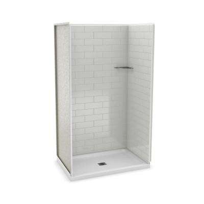 Utile Metro 32 in. x 48 in. x 83.5 in. Alcove Shower Stall in Soft Grey with Center Drain Base in White