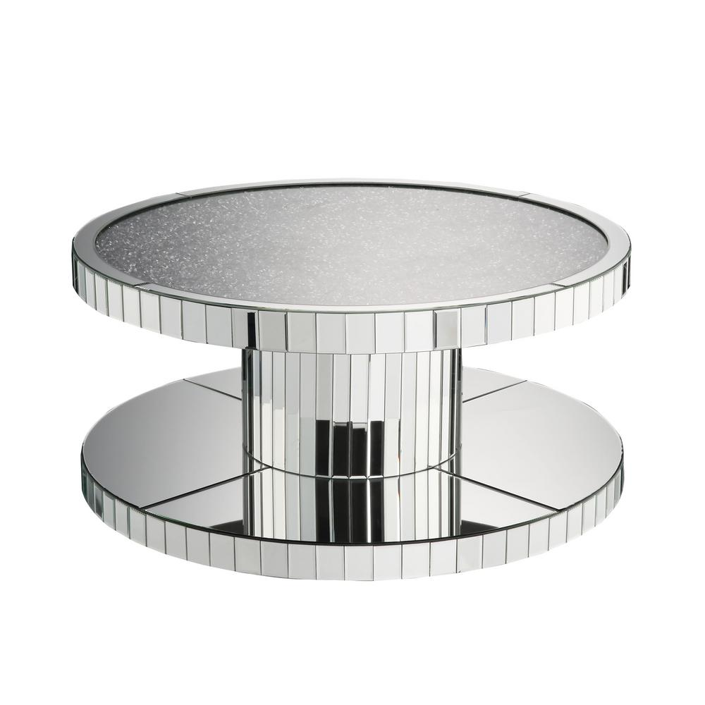 Acme Furniture Ornat Mirrored And Faux Stones Coffee Table