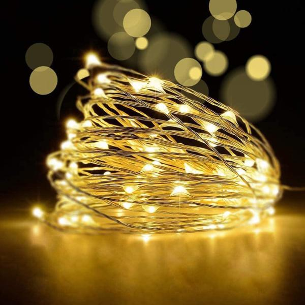 Betus 33 Ft 100 Leds Waterproof Copper Wire Starry String Fairy Lights Battery Powered With Remote Control 8 Light Modes B String Remote Warmwhite 33ft The Home Depot