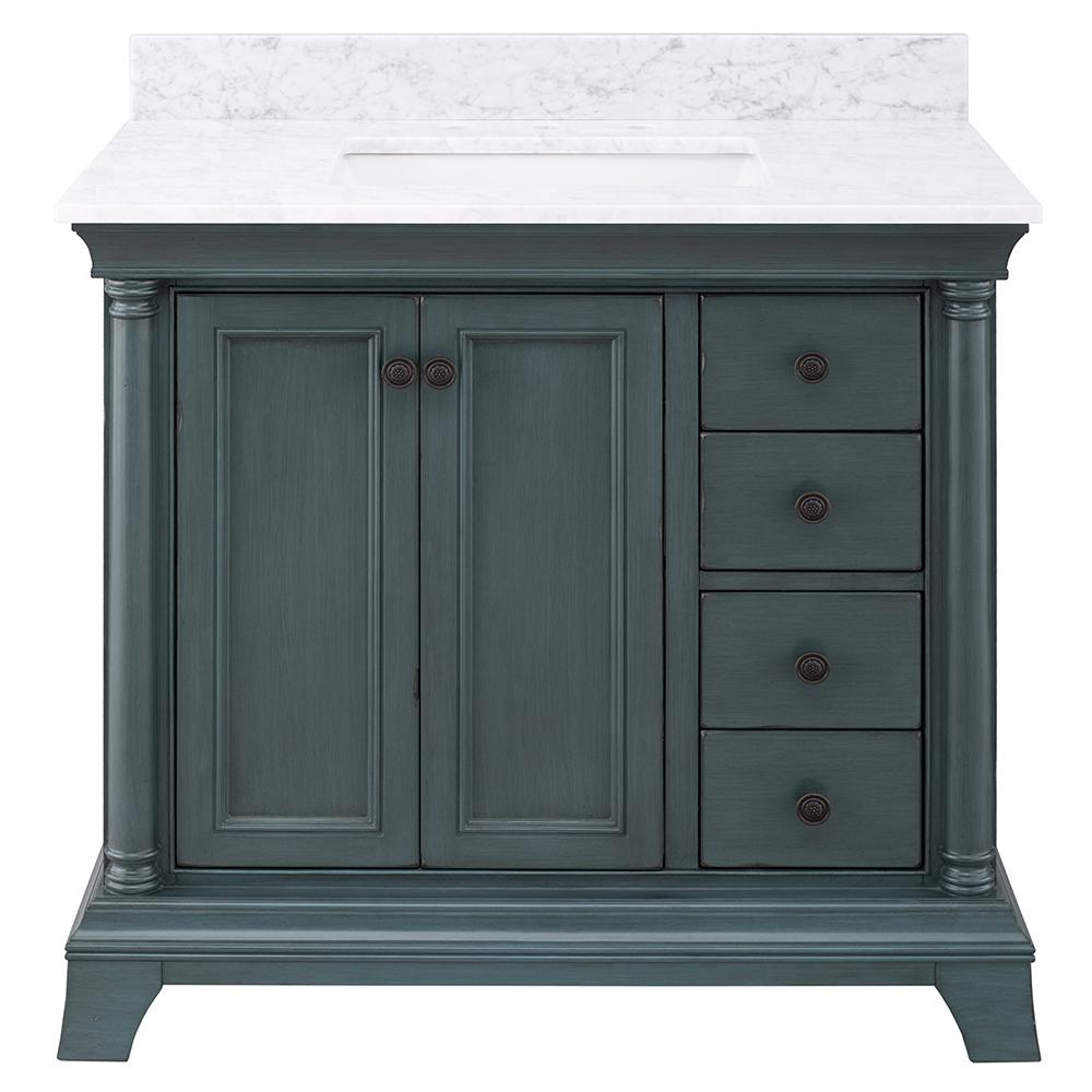 Home Decorators Collection Strousse 37 in. W x 22 in. D Vanity Cabinet in Distressed Blue Fog with Marble Top in Carrara White with White Sink
