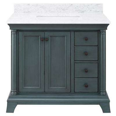 Strousse 37 in. W x 22 in. D Vanity Cabinet in Distressed Blue Fog with Marble Top in Carrara White with White Sink