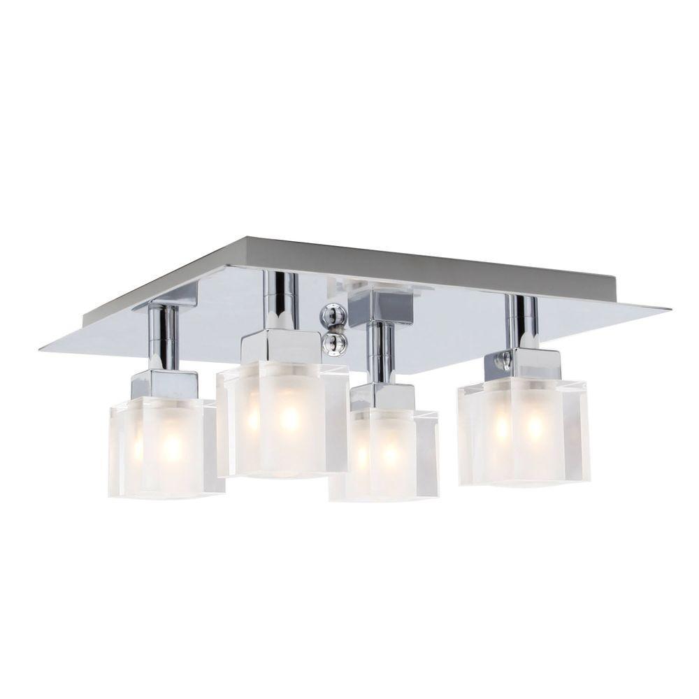 Eglo Tresco 4-Light Matte Nickel and Chrome Ceiling Light