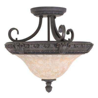 Verona Lighting Collection 3-Light Sienna Bronze Semi-Flush Mount Light with Honey Parchment Glass Shade