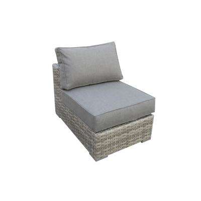 Bali Patio Wicker Armless Middle Outdoor Sectional Chair with Olefin Charcoal Grey Cushion