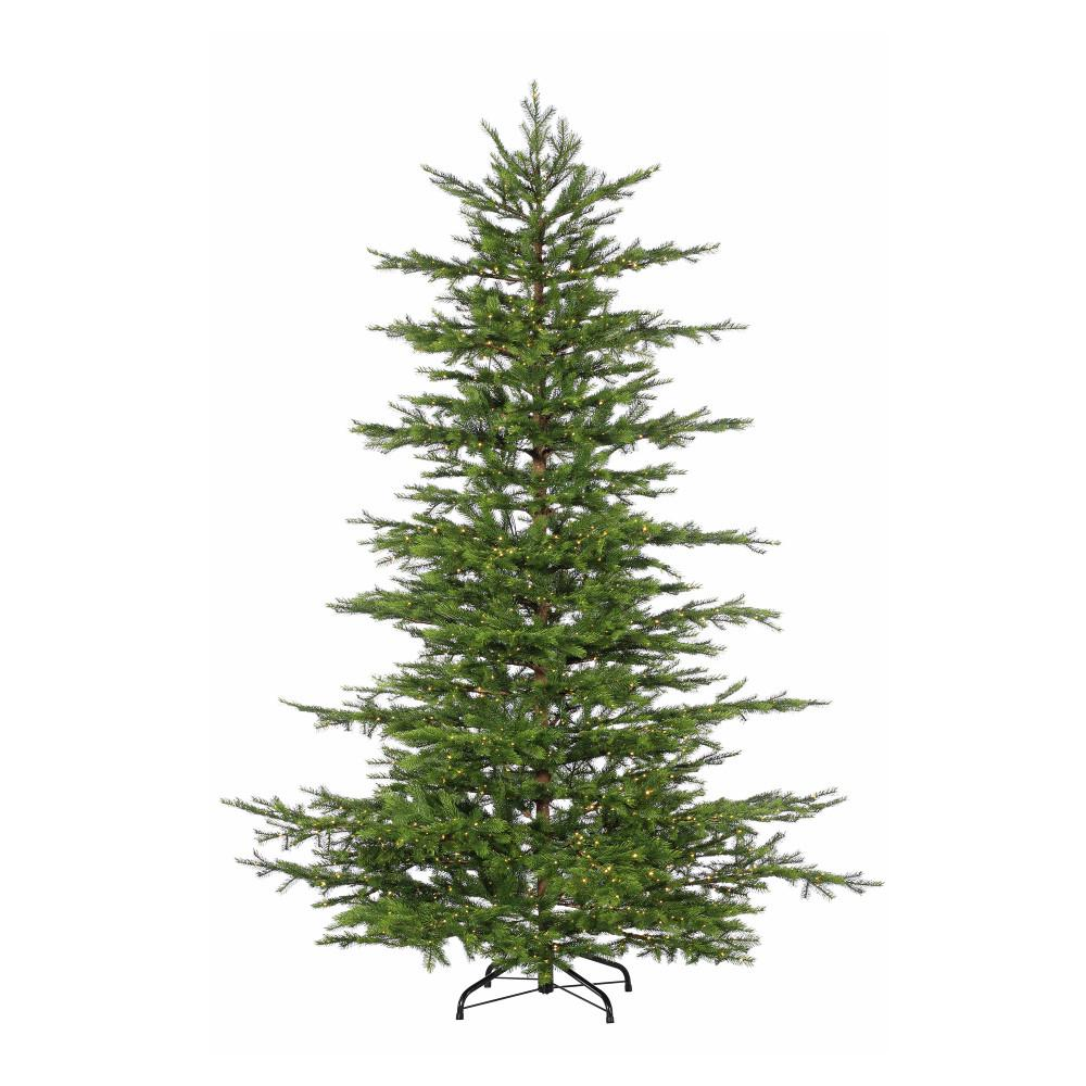 STERLING. 7.5 ft. Pre-Lit LED Natural Cut Layered Mesa Pine Artificial Christmas Tree with Micro Lights
