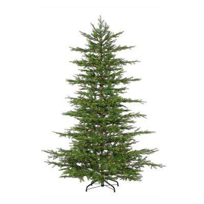 7.5 ft. Pre-Lit LED Natural Cut Layered Mesa Pine Artificial Christmas Tree with Micro Lights