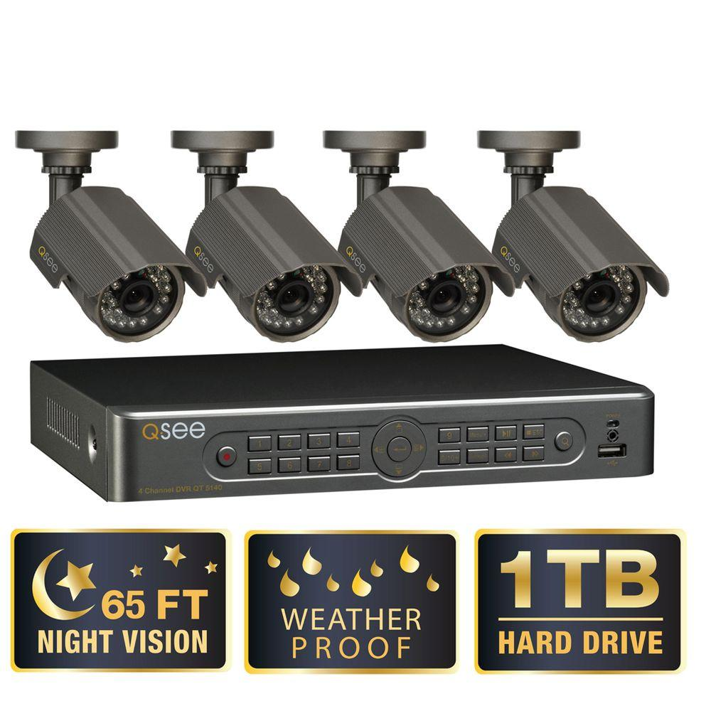 Q-SEE Premium Series 4 CH 1TB Surveillance System with (4) 450 TVL Cameras 65 ft. Night Vision HDMI Output-DISCONTINUED