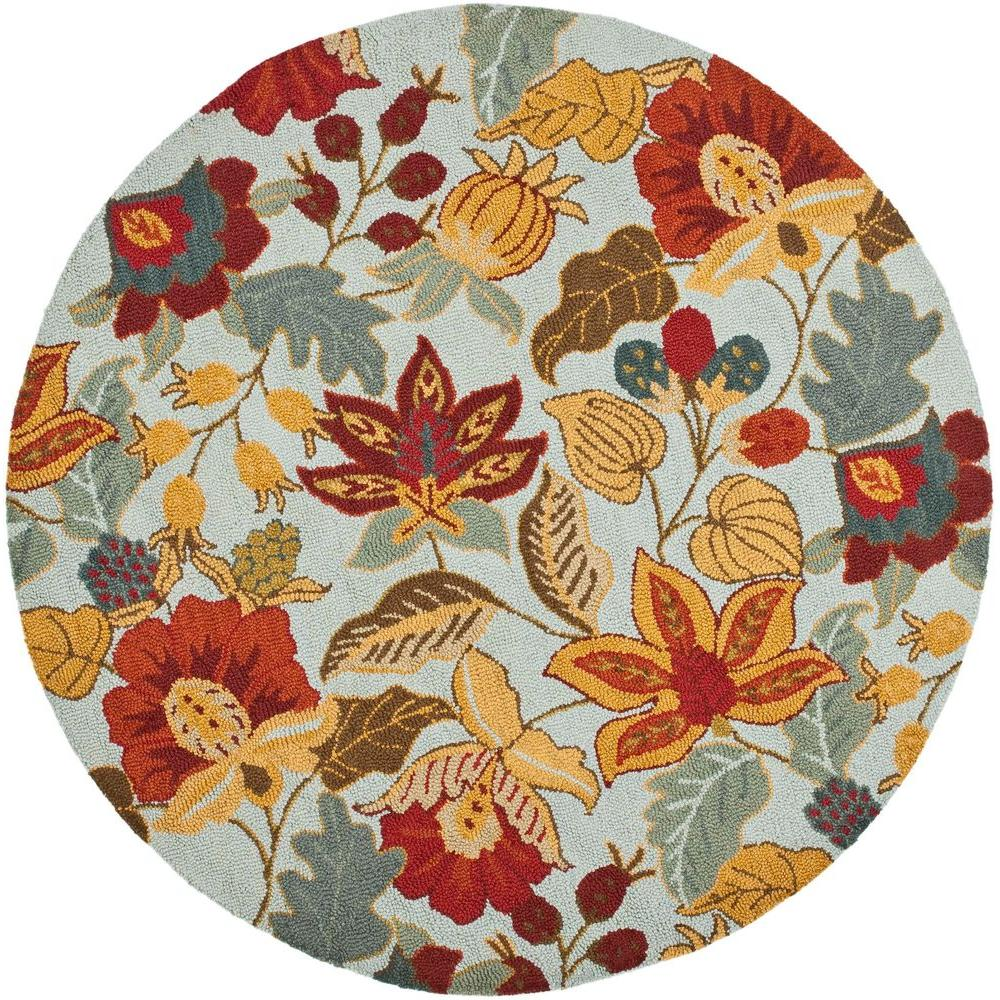 Blossom Blue/Multi 6 ft. x 6 ft. Round Area Rug