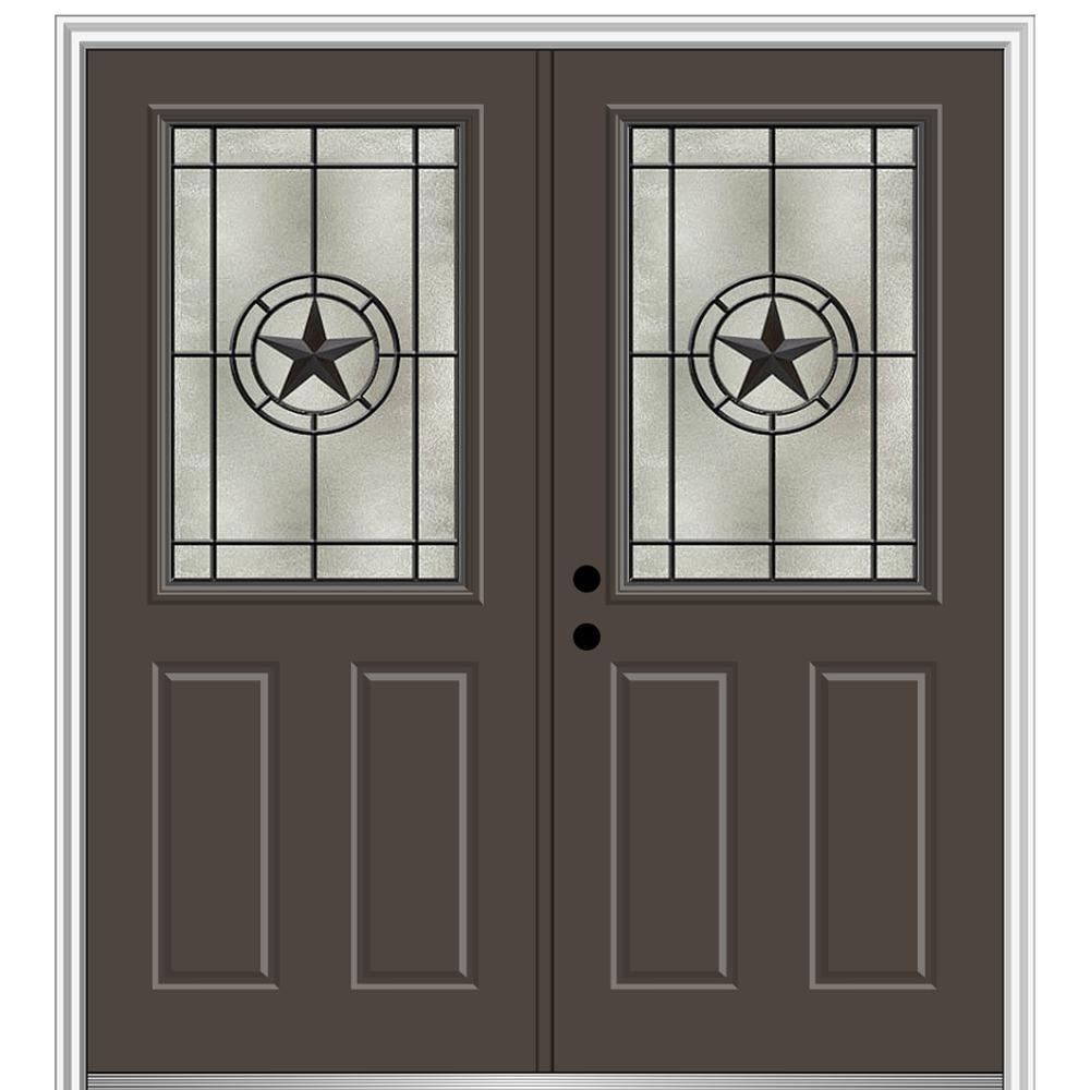 Mmi Door Elegant Star 64 In X 80 In 2 Panel Right Hand 1 2 Lite Decorative Glass Brown Painted Fiberglass Prehung Front Door Z03745409r The Home Depot