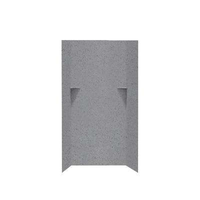36 in. x 36 in. x 72 in. 3-Piece Easy Up Adhesive Alcove Shower Surround in Gray Glass