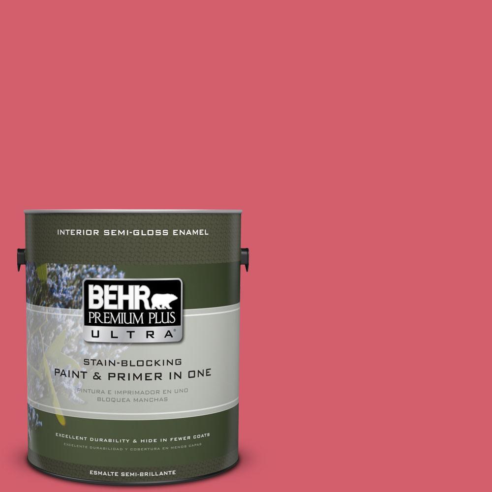 BEHR Premium Plus Ultra 1-gal. #140B-6 Italiano Rose Semi-Gloss Enamel Interior Paint