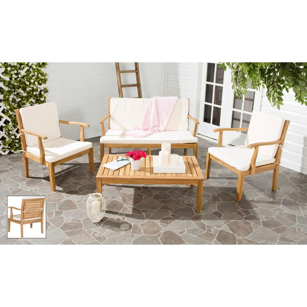 Fresno Teak Brown 4-Piece Patio Seating Set with Beige Cushions