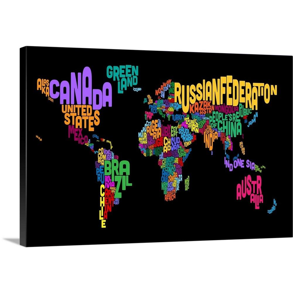 """Poster Print /""""Country Names World Map Multicolor on White/"""""""
