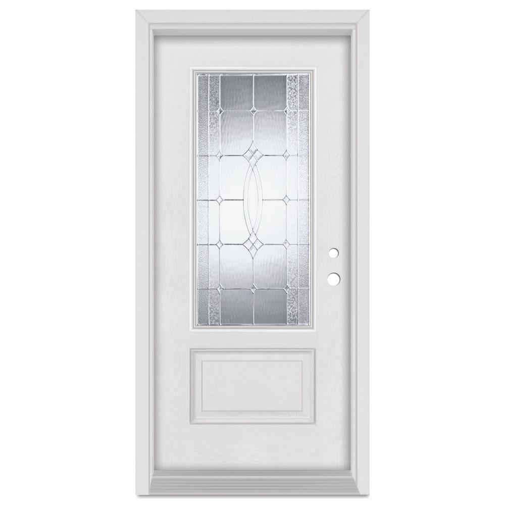 Stanley Doors 33.375 in. x 83 in. Diamanti Left-Hand Zinc Finished Fiberglass Mahogany Woodgrain Prehung Front Door Brickmould