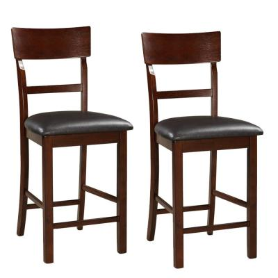 42 in. Dark Brown Wooden Counter Height Chair (Set of 2)