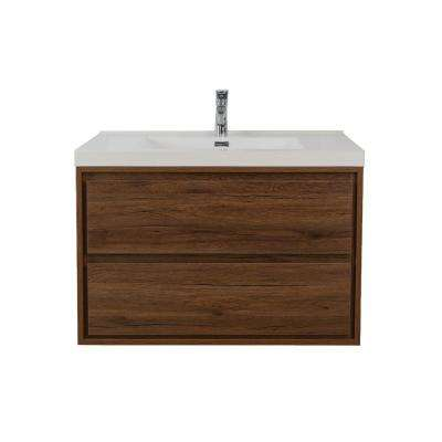 Sage 36 in. W Vanity in Rosewood with Reinforced Acrylic Vanity Top in White with White Basin