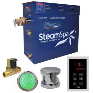 SteamSpa Indulgence 7.5kW QuickStart Steam Bath Generator Package with Built-In Auto Drain in Polished Chrome by SteamSpa