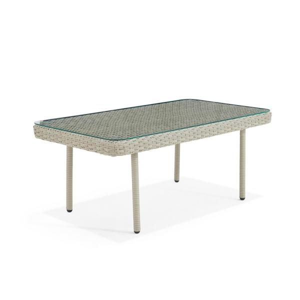 Windham 42 in. L All-Weather Wicker Outdoor Coffee Table with Glass Top