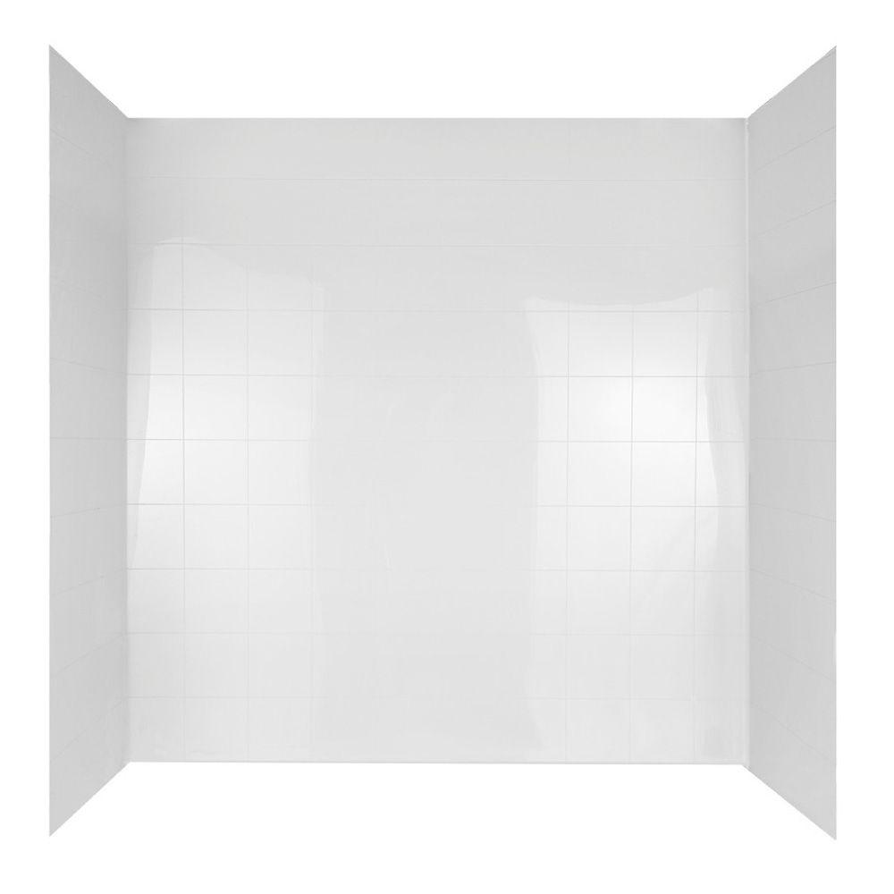 60 In. X 30 In. Mirage Bathtub Wall Set In White-37684