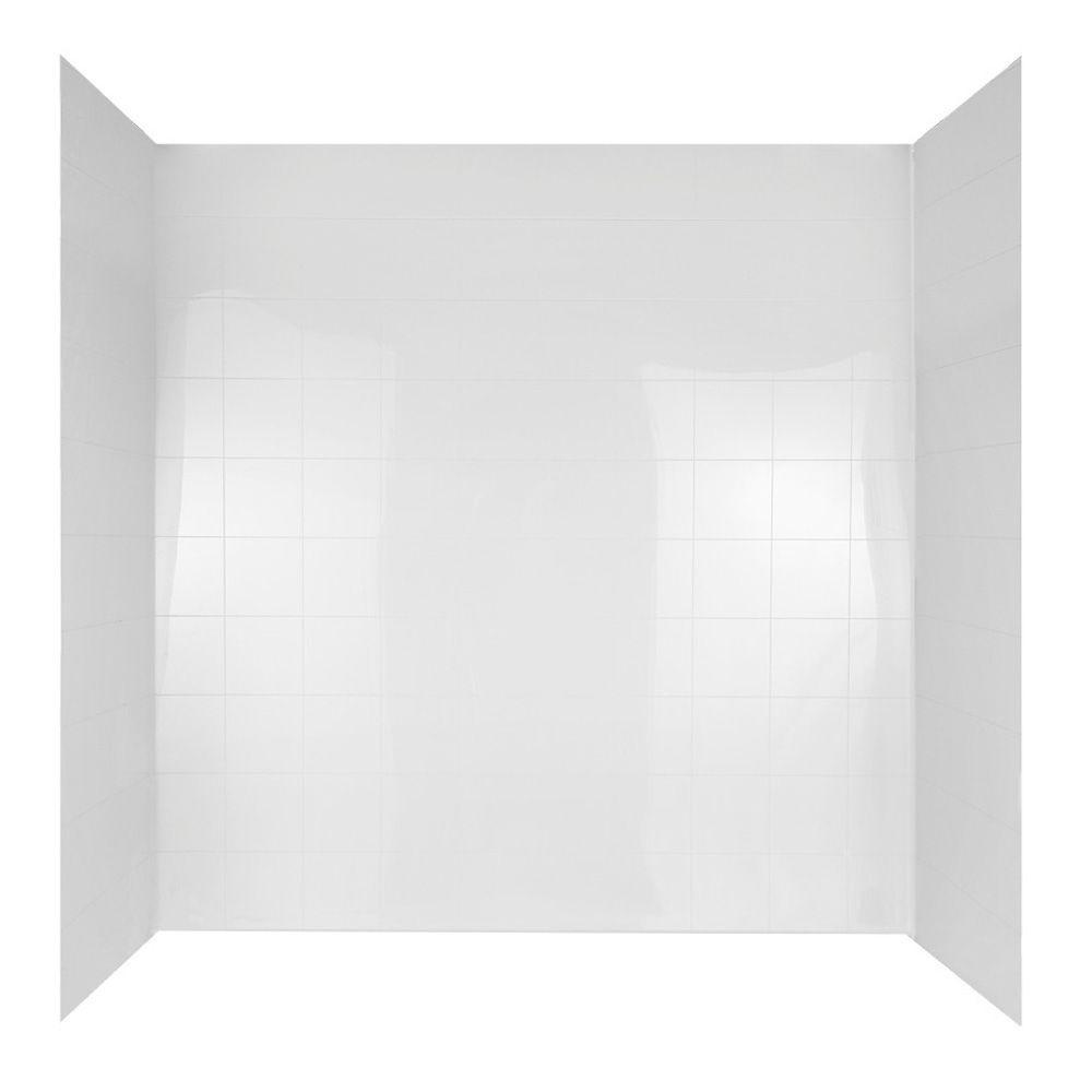 60 in. x 30 in. Mirage Bathtub Wall Set in White