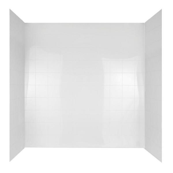 60 in. x 30 in. Mirage Bathtub Wall Set in White