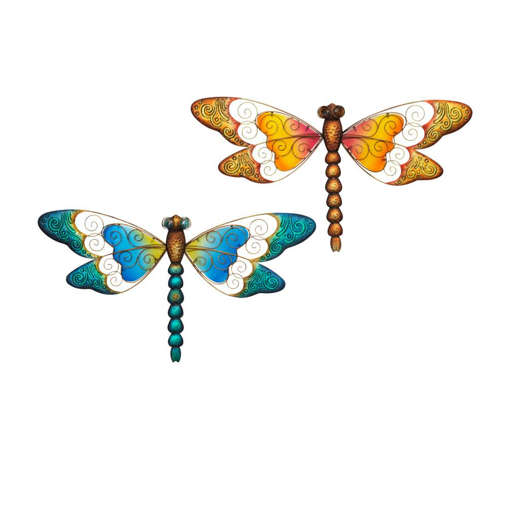 Metal Dragonfly Wall Art (Set Of 2)