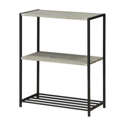 Modern 3-Tier Metal Storage Shelves in Dark Oak