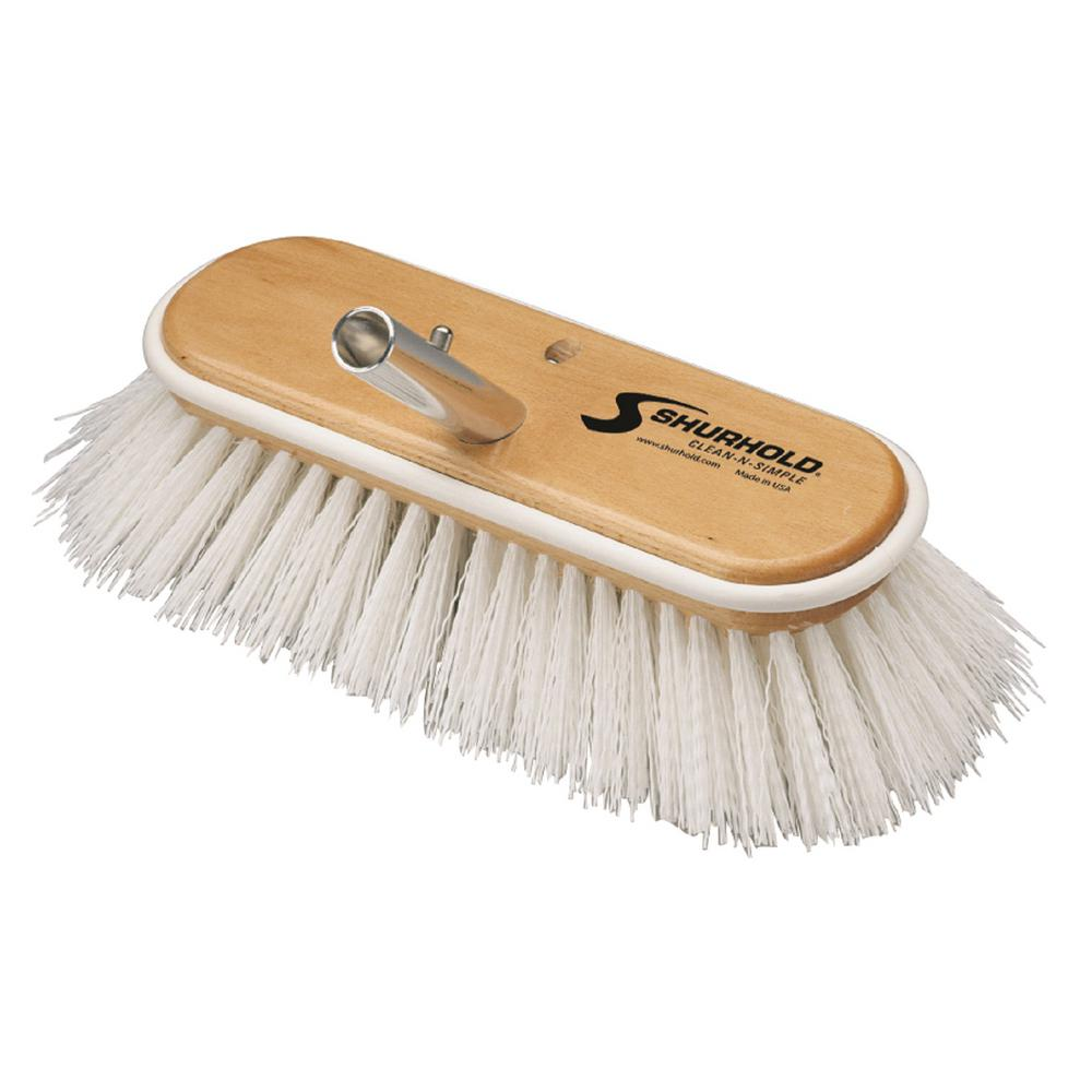 10 in. Deck Brush Extra Stiff White Polypropylene