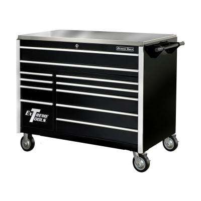55 in. 11-Drawer Professional Roller Cabinet with Stainless Steel Work Surface in Black